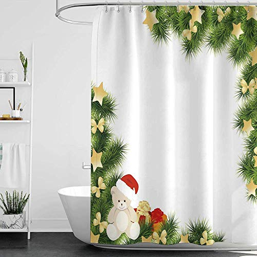 homecoco Shower Curtains Mildew Resistant Kids Christmas,Cute Teddy