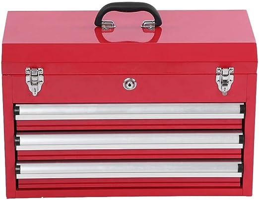Caja de herramientas, 3 niveles, profesional, portátil, gabinete de almacenamiento, caja de herramientas con cerradura, con asas de transporte, color rojo: Amazon.es: Bricolaje y herramientas