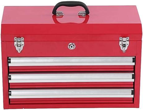 organizador de cajonera con asa plegable y cajones abiertos con ruedas caja de herramientas de almacenamiento de bolas Caja de herramientas port/átil con 3 cajones 56,5 x 31 x 37 cm