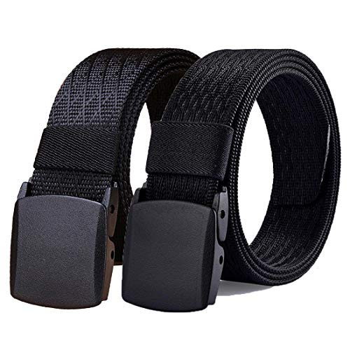 - WYuZe Black Nylon Webbing Belt-2 Pack Plastic Military Tactical Web Belt for Men,Black W+black J,Waist: 28
