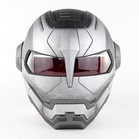 D.O.T Certificado Motocross Casco De Motocross Cara Completa Casco Moto Tapa Abierta Casco De Máscara, Iron Man Transformers - M, L, XL Gris,M57~58CM: ...