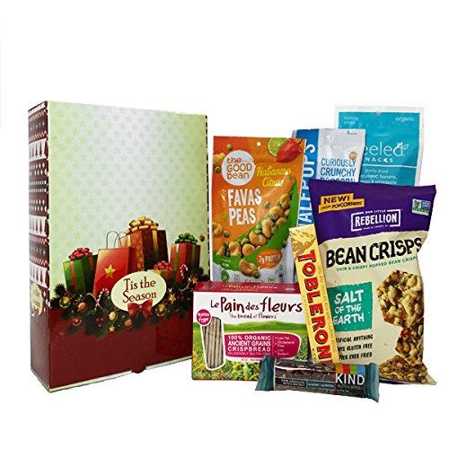 Gluten Free Gift Basket - Healthy Snacks Gift Box With Popcorners Bean Crisps Salt, Toblerone Milk Chocolate Bar, Toblerone Milk Chocolate Bar, Dried Banana, Sea Salt, Favas Peas & Bar Fruit Nuts