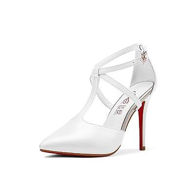 Wysm Chaussures wysm Sandales à Talons Hauts 10cm Baotou Creux à Bretelles Fines Pointues Avec des Talons Hauts