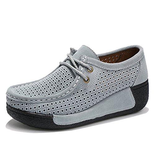 Enllerviid Mujeres Cut Out Plataforma Zapatillas Moda Moc Toe Mocasín Mocasín Zapatos 505-1 Gris