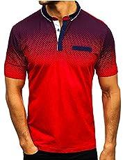 SSBZYES Heren poloshirts, heren T-shirts, zomershirts met korte mouwen, heren bovenstukken, T-shirts met kleurverloop, vervalste zakken, revers bottom-shirts