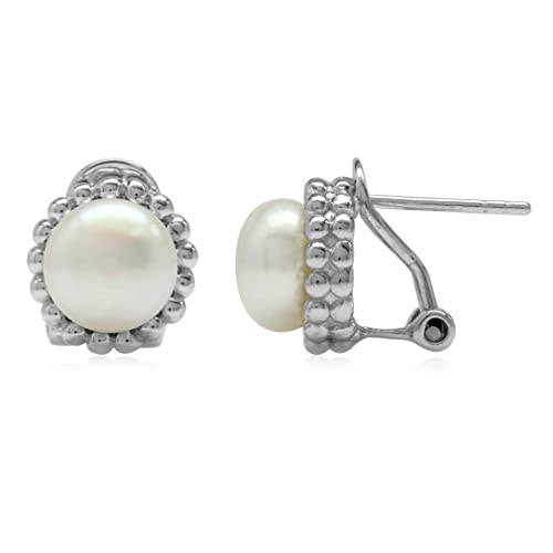 2c7a025f2 Image Unavailable. Image not available for. Color: 8MM Cultured Freshwater  White Pearl 925 Sterling Silver Beaded Ball Pattern Omega Clip Post Earrings