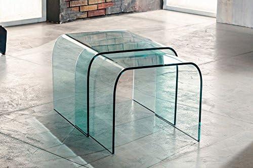 Par de mesas de Centro – Ponti (Cristal Curvado Transparente