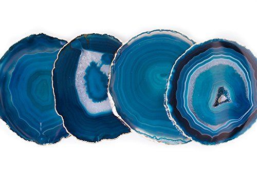 Teal Blue Gold Plated Coasters by Blanc (Image #3)
