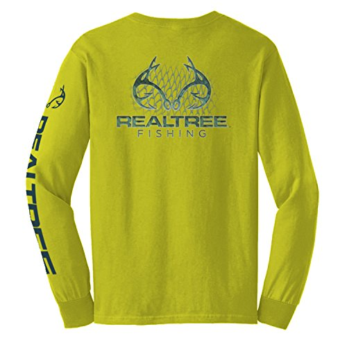 - Realtree Fishing - Men's Net Scales Long Sleeve Graphic Tee, Safety Yellow (Large)
