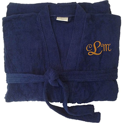 Key Your Spirit KYS Personalized Embroidered Terry Robe S/M Navy (Bathrobes Monogram)