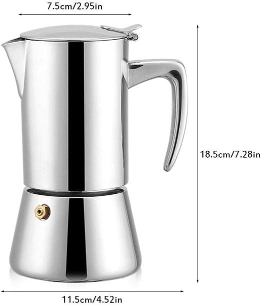 COKFEB Filtro de café Cafetera Moka de Acero Inoxidable con Filtro, cafeteras, 200 ml, Herramientas de percolador, Plateado: Amazon.es: Hogar