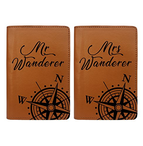 World Compass Map - Couple Passport Holder Set of 2 by With Love From Julie