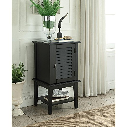 Major-Q Floor Cabinet Storage for Dining/Kitchen/Living Room, Rectangular, Wood Rustic and Black Finish, 16 x 16 x 30 - Living Room Rectangular Cabinet