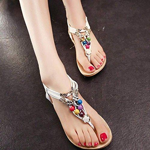 Koly Women Summer Bohemia Sweet Beaded Sandals Flip Flop Sandals Beach Shoes White 5ghqSvWGC