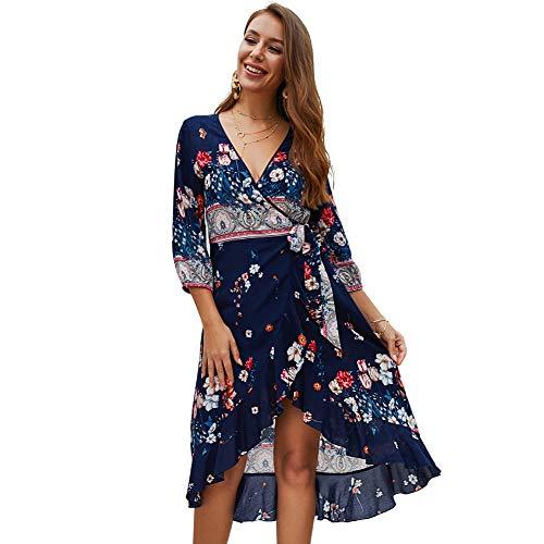 Halfword Women's Boho Midi Dress - Summer Floral Print 3/4 Sleeve Wrap Beach Dress Navy Blue L