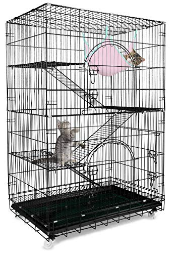 Petsmatig Wire Cat Cage: Spacious Foldable Metal Pet Crate Playpen with 3 Openings, 3 Platforms, 3 Ladders, 1 Hammock, 1 Bottom Tray, 4 Wheels and Free Grooming Gloves (Cat Metal Cage)
