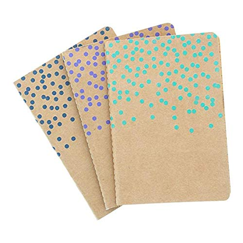 Art Alternatives Fashion Journals, Swiss Dot Pattern with Kraft Paper Inside, One Each Violet, Navy and Arcadia Green, 80 Pages Each, 4 x 5.75 inches (AAJL00002)