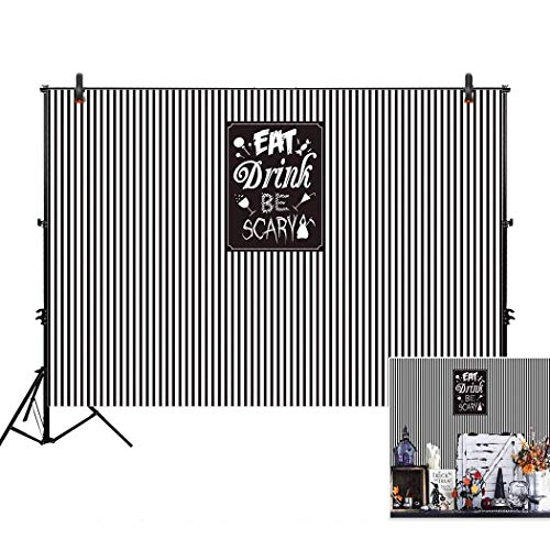 Allenjoy 7x5ft Eat Drink and Be Scary Backdrop for Halloween Holiday Family Event 2018 Celebration Party Decor Backdorps Happy Birthday Decoration Pictures Background Supplies]()