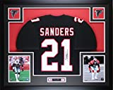 Deion Sanders Autographed Black Falcons Jersey - Beautifully Matted and Framed - Hand Signed By Deion Sanders and Certified Authentic by Auto JSA COA - Includes Certificate of Authenticity
