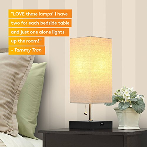 Brightech Grace LED USB Bedside Table & Desk Lamp – Modern Lamp with Soft, Ambient Light, Unique Lampshade & Functional USB Port – Perfect for Table in Bedroom, Living Room, or Office - Black by Brightech (Image #4)