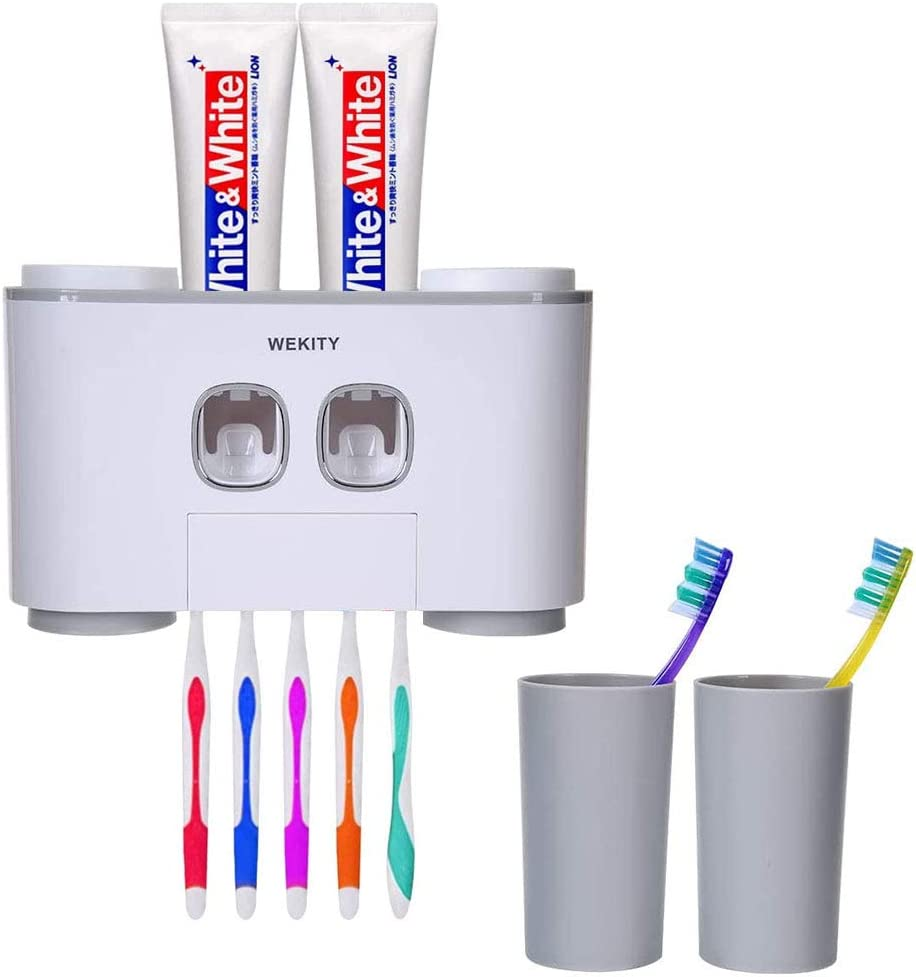 WREWING Toothbrush Holder Multi-Function Wall-Mounted Automatic Toothpaste Dispenser and Dust-Proof Toothbrush Holder with 5 Brush Slots 4 Cups 2 Automatic Toothpaste Dispensers 1 Storage Slot (Grey)