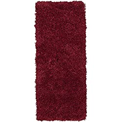 Ottomanson Flokati Collection Faux Sheepskin Shag Runner Rug, 2'X5', Red