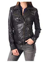 LEATHER FARM Women's Lambskin Leather Bomber Biker Jacket