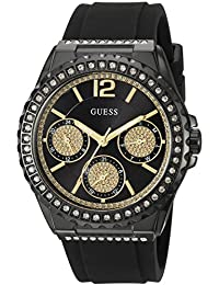 GUESS Women's U0846L1 Sporty Black Watch with Black Dial , Crystal-Accented Bezel and Silicone Strap Buckle
