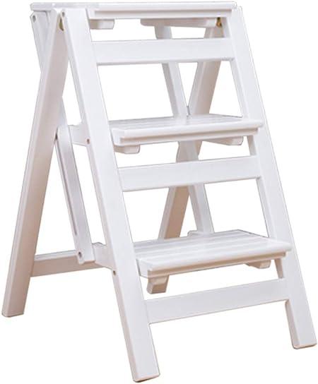 Pedal de 3 Capas Taburete Asientos de Silla de Escalera De Madera Escalera Estante Escalera de Tijera Madera de Pino Ascenso de Doble Uso Escalera de estantería Plegable Cocina Ascenso Interior Casa: