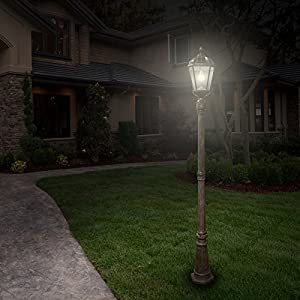Gama Sonic Royal Bulb Solar Lamp Post Gs-98B-S-Wb, large, Weathered Bronze 98B301