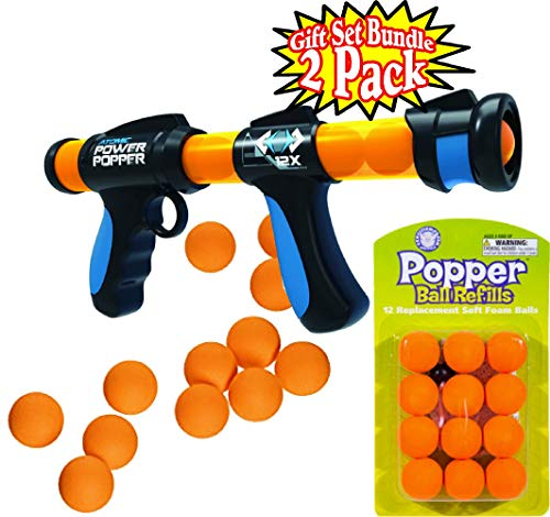 Hog Wild Atomic Power Popper Pump Action Blaster with 12 Orange Soft Foam Replacement (Refill) Balls Gift Set Bundle - 2 Pack