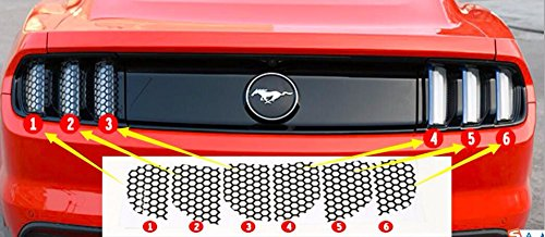 Niceautoitem 6pcs ABS Tail Lights Film Trims Lamps Cover Paste Honeycomb Beehive Style for Ford Mustang 2015 UP