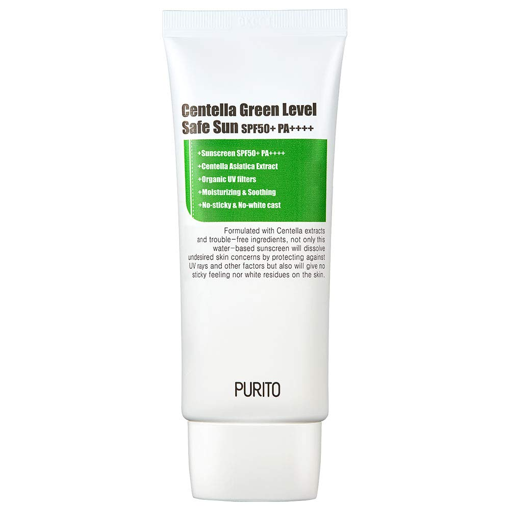 PURITO Centella Green Level Safe Sun SPF50+ PA++++,Sunscreen for face, Broad Spectrum UVA1,2,UVB,Oil-Free Suncream, Non-Nano System, Acne-prone skin, reef safe sunscreen