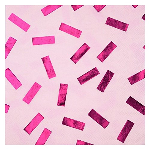 We Love Sundays Metallic Pink Confetti Party Napkins | 20 Pack | Great for Various Themed Parties