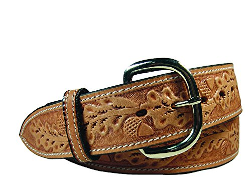 SA Leather Acorn Tooled Western Belt with Replaceable Buckle 32