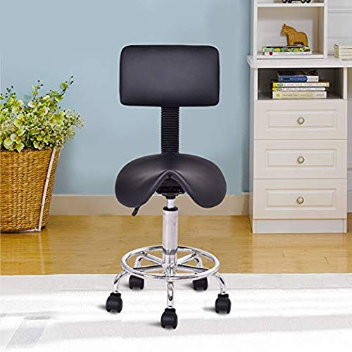 Beauty Salon Stool, Safeplus Rolling Saddle Chair Adjustable Massage Chair, Tattoo Facial Spa with Backrest (Adjustable Hydraulic with Wheel) from Safeplus