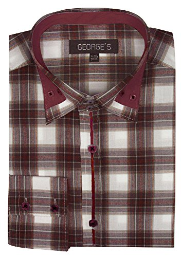 """George Dress Shirts - George's Men's Classic Casual Dress Shirt With Plaids & Checks Square Button-Down Collar (19-19.5"""" Neck 36/37"""" Sleeve, Burgundy)"""