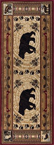 Black Bear Furniture - Black Bear Novelty Lodge Pattern Brown Runner Rug, 2.7' x 10'