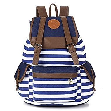 DAKIA Unisex Fashionable Canvas School Bag Super Cute Stripe School College Laptop Bag Backpack for Teens Girls Boys Students (BLUE)