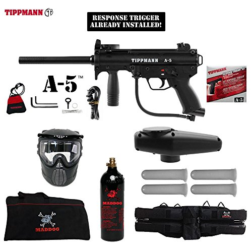 (MAddog Tippmann A5 A-5 w/Response Trigger Beginner C02 Paintball Gun Starter Package - Black)