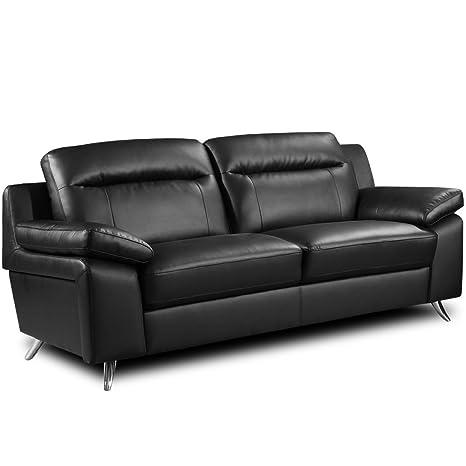 Simply StylisH Sofas Nuvola Negro sofá de Piel Gama 3 y 2 ...