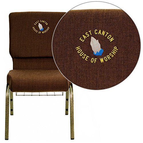 Flash Furniture FD-CH02185-GV-10355-BAS-EMB-GG Embroidered HERCULES Series 18.5'' Wide Brown Church Chair with 4.25'' Thick Seat, Communion Cup Book R