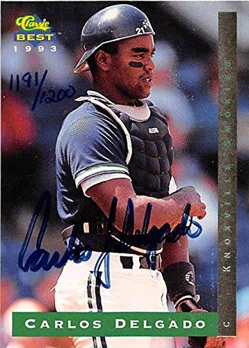 Carlos Delgado autographed baseball card (Toronto Blue Jays) 1993 Classic Best #CB1 Rookie (Carlos Delgado Autographed Baseball)