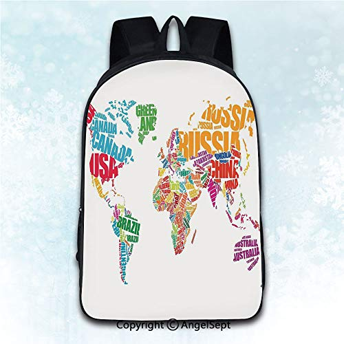 Travel Rucksack Shoulder Bag Students,Wanderlust Decor World Map Made by Names Continents Europe America Africa Asia Graphic Art Multi 16 inches,Daily Carry Multi-Purpose Knapsack