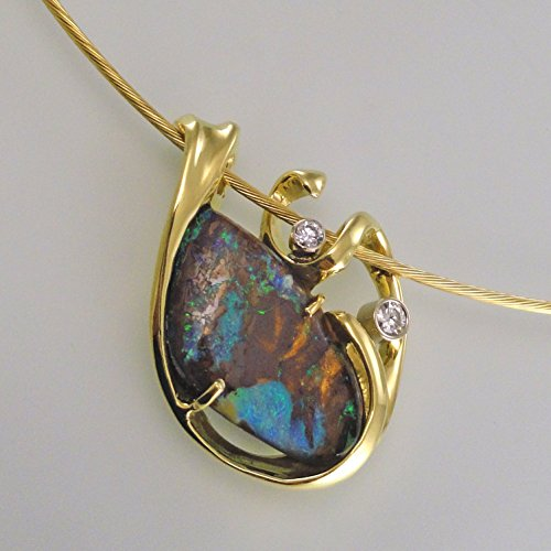Boulder Opal and Diamond Pendant-Slide (Boulder Opal Earrings)