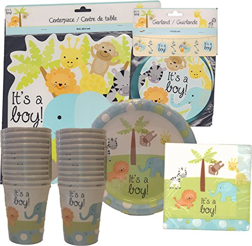 It's a Boy Party Pack, for 18 People (Baby Shower Decorations Animals)