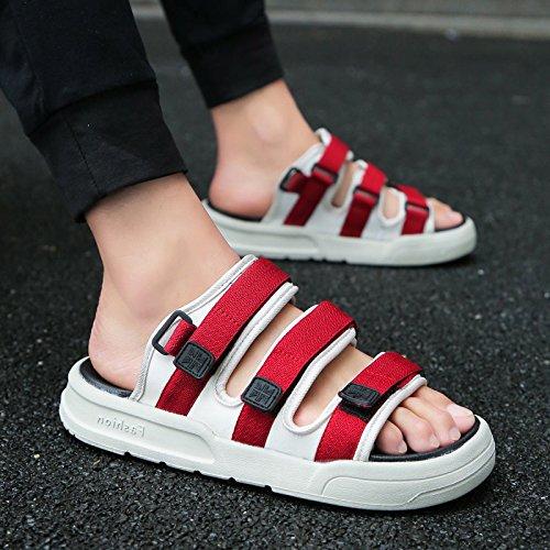fankou Verano Antideslizante Zapatillas Zapatos Sandalias de Playa Que Son Frescas en Verano y un Salón Elegante y,42,903 Marea roja