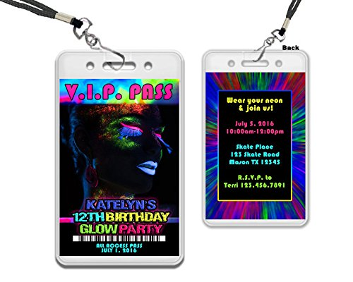 Amazoncom Glow Party VIP Pass Birthday Invitations Girl Rave Sweet