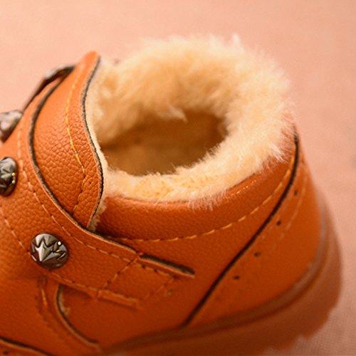 JIANGFU Baby Baumwolle Retro-Schnee Lederstiefel,Kleinkind Kinder Jungen Mädchen Martin Sneaker Winter Dicke Schnee Baby Freizeitschuhe YE