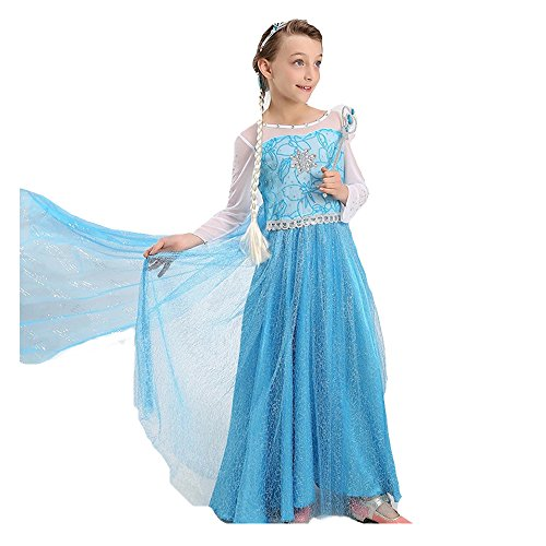 BTW.JP] Ice Queen Glitter Princess Dress Elsa Party Costume 2 Colors Accessories Set (4-5, Light Blue) -